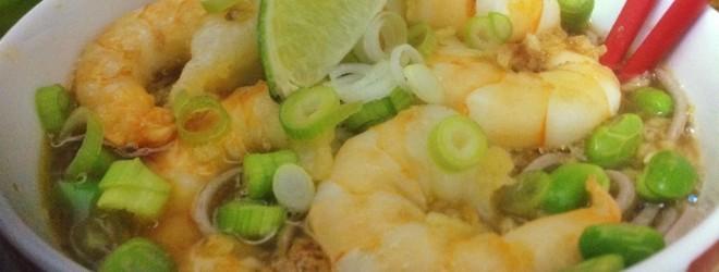 Soba noodles met garnalen